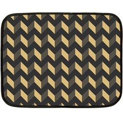 Tan Gray Modern Retro Chevron Patchwork Pattern Mini Fleece Blanket (two Sided)