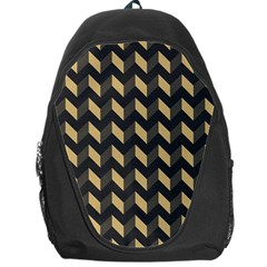 Tan Gray Modern Retro Chevron Patchwork Pattern Backpack Bag