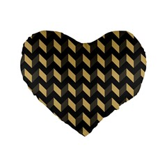 Tan Gray Modern Retro Chevron Patchwork Pattern 16  Premium Heart Shape Cushion
