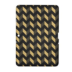 Tan Gray Modern Retro Chevron Patchwork Pattern Samsung Galaxy Tab 2 (10.1 ) P5100 Hardshell Case