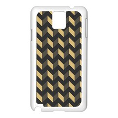 Tan Gray Modern Retro Chevron Patchwork Pattern Samsung Galaxy Note 3 N9005 Case (white)