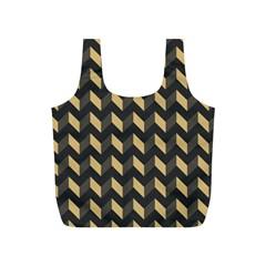 Tan Gray Modern Retro Chevron Patchwork Pattern Reusable Bag (s)