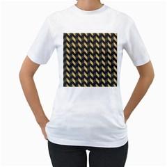 Tan Gray Modern Retro Chevron Patchwork Pattern Women s T Shirt (white)