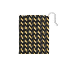 Tan Gray Modern Retro Chevron Patchwork Pattern Drawstring Pouch (Small)