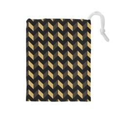 Tan Gray Modern Retro Chevron Patchwork Pattern Drawstring Pouch (Large)