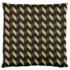 Tan Gray Modern Retro Chevron Patchwork Pattern Large Flano Cushion Case (One Side)