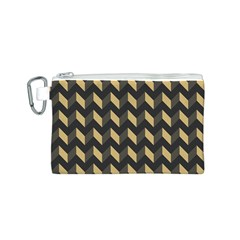Tan Gray Modern Retro Chevron Patchwork Pattern Canvas Cosmetic Bag (small)