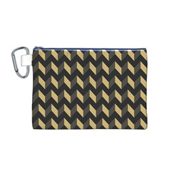 Tan Gray Modern Retro Chevron Patchwork Pattern Canvas Cosmetic Bag (Medium)