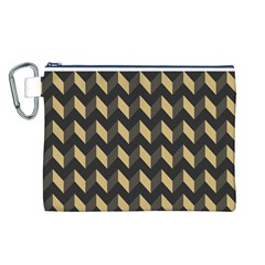 Tan Gray Modern Retro Chevron Patchwork Pattern Canvas Cosmetic Bag (Large)