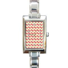 Mint Pink Modern Retro Chevron Patchwork Pattern Rectangular Italian Charm Watch