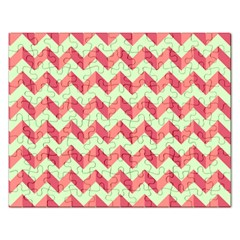 Mint Pink Modern Retro Chevron Patchwork Pattern Jigsaw Puzzle (rectangle)