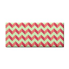 Mint Pink Modern Retro Chevron Patchwork Pattern Hand Towel