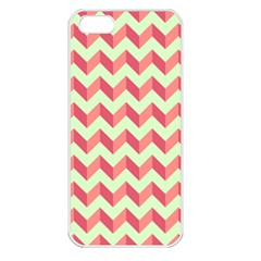 Mint Pink Modern Retro Chevron Patchwork Pattern Apple Iphone 5 Seamless Case (white)