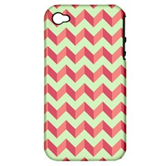 Mint Pink Modern Retro Chevron Patchwork Pattern Apple Iphone 4/4s Hardshell Case (pc+silicone)