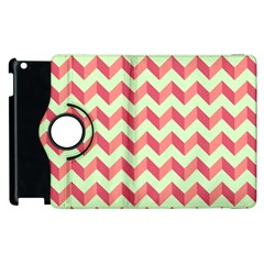 Mint Pink Modern Retro Chevron Patchwork Pattern Apple Ipad 2 Flip 360 Case