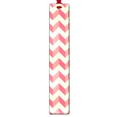 Mint Pink Modern Retro Chevron Patchwork Pattern Large Bookmark