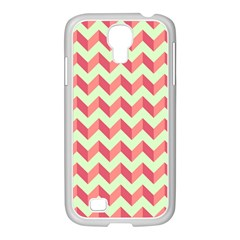 Mint Pink Modern Retro Chevron Patchwork Pattern Samsung Galaxy S4 I9500/ I9505 Case (white)