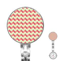 Mint Pink Modern Retro Chevron Patchwork Pattern Stainless Steel Nurses Watch