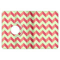 Mint Pink Modern Retro Chevron Patchwork Pattern Kindle Fire HDX Flip 360 Case