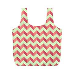 Mint Pink Modern Retro Chevron Patchwork Pattern Reusable Bag (m)