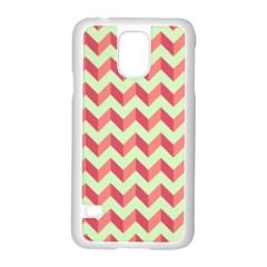 Mint Pink Modern Retro Chevron Patchwork Pattern Samsung Galaxy S5 Case (White)