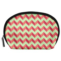 Mint Pink Modern Retro Chevron Patchwork Pattern Accessory Pouch (Large)