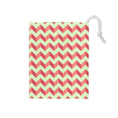 Mint Pink Modern Retro Chevron Patchwork Pattern Drawstring Pouch (Medium)
