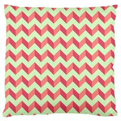 Mint Pink Modern Retro Chevron Patchwork Pattern Large Flano Cushion Case (Two Sides)