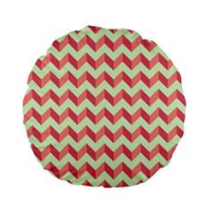 Mint Pink Modern Retro Chevron Patchwork Pattern 15  Premium Flano Round Cushion