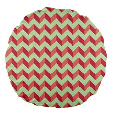 Mint Pink Modern Retro Chevron Patchwork Pattern 18  Premium Flano Round Cushion