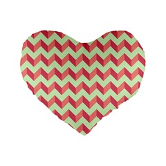 Mint Pink Modern Retro Chevron Patchwork Pattern 16  Premium Flano Heart Shape Cushion