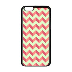 Mint Pink Modern Retro Chevron Patchwork Pattern Apple Iphone 6 Black Enamel Case