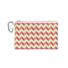 Mint Pink Modern Retro Chevron Patchwork Pattern Canvas Cosmetic Bag (Small)