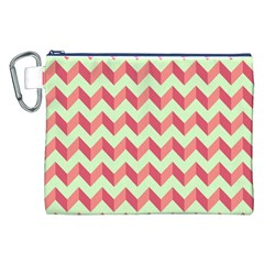 Mint Pink Modern Retro Chevron Patchwork Pattern Canvas Cosmetic Bag (xxl)