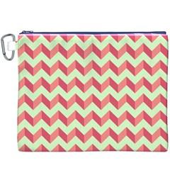 Mint Pink Modern Retro Chevron Patchwork Pattern Canvas Cosmetic Bag (XXXL)