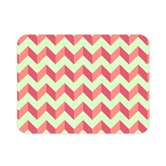 Mint Pink Modern Retro Chevron Patchwork Pattern Double Sided Flano Blanket (mini)