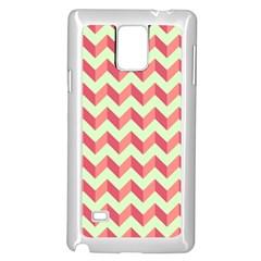 Mint Pink Modern Retro Chevron Patchwork Pattern Samsung Galaxy Note 4 Case (White)