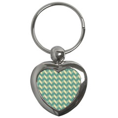 Mint Modern Retro Chevron Patchwork Pattern Key Chain (heart)