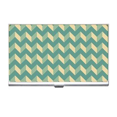 Mint Modern Retro Chevron Patchwork Pattern Business Card Holder