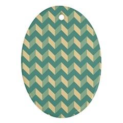 Mint Modern Retro Chevron Patchwork Pattern Oval Ornament (two Sides)