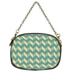Mint Modern Retro Chevron Patchwork Pattern Chain Purse (two Sided)