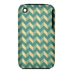 Mint Modern Retro Chevron Patchwork Pattern Apple iPhone 3G/3GS Hardshell Case (PC+Silicone)