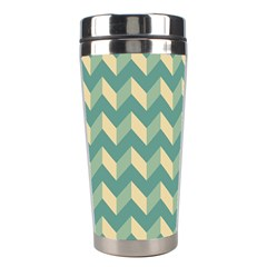 Mint Modern Retro Chevron Patchwork Pattern Stainless Steel Travel Tumbler