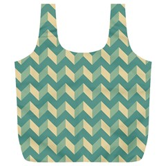 Mint Modern Retro Chevron Patchwork Pattern Reusable Bag (XL)