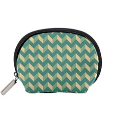 Mint Modern Retro Chevron Patchwork Pattern Accessory Pouch (Small)