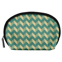 Mint Modern Retro Chevron Patchwork Pattern Accessory Pouch (large)