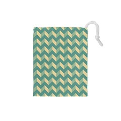 Mint Modern Retro Chevron Patchwork Pattern Drawstring Pouch (small)