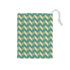 Mint Modern Retro Chevron Patchwork Pattern Drawstring Pouch (Medium)