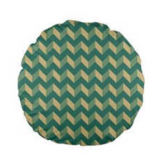 Mint Modern Retro Chevron Patchwork Pattern 15  Premium Flano Round Cushion