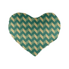 Mint Modern Retro Chevron Patchwork Pattern 16  Premium Flano Heart Shape Cushion
